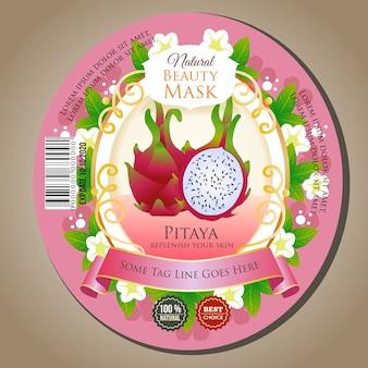 Máscara de belleza pitaya etiqueta autoadhesiva