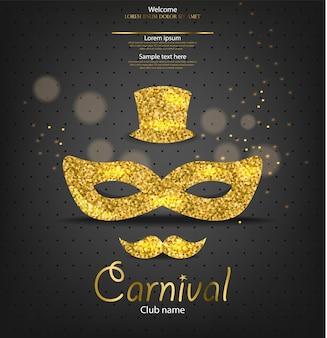 Máscara de brillo dorado carnaval