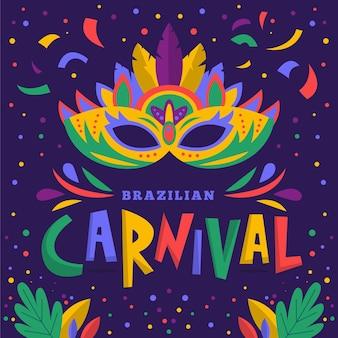 Máscara de carnaval brasileño dibujada a mano