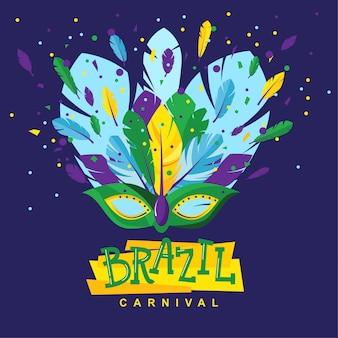 Máscara de carnaval brasileño con plumas y dulces sobre un fondo oscuro
