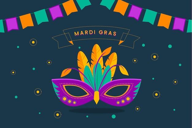 Máscara de carnaval de diseño plano