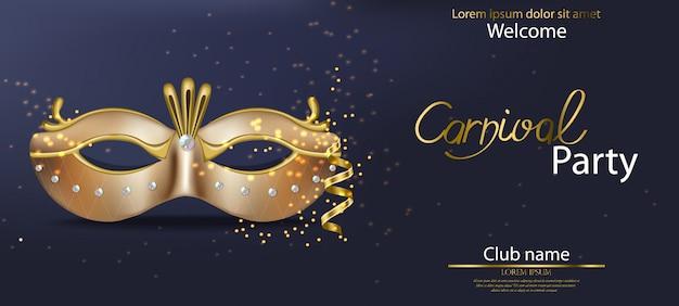 Máscara de carnaval dorado