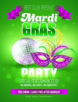 Máscara de carnaval de mardi gras. plantilla de póster.