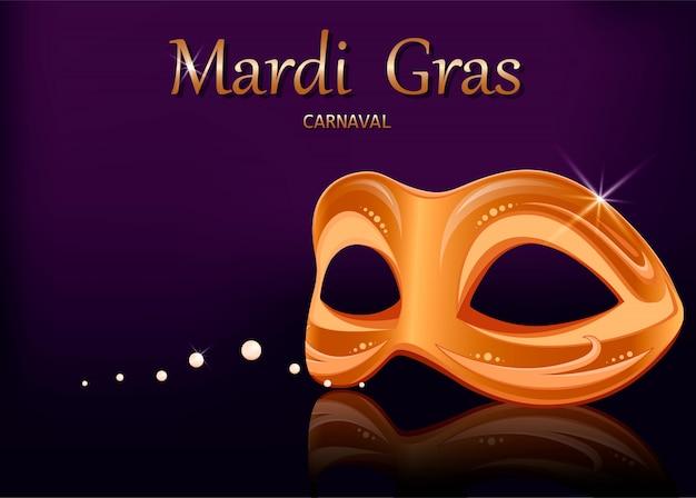 Máscara de carnaval de mardi gras. tarjeta de felicitación