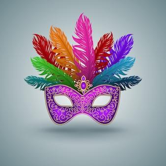 Máscara de carnaval con pluma