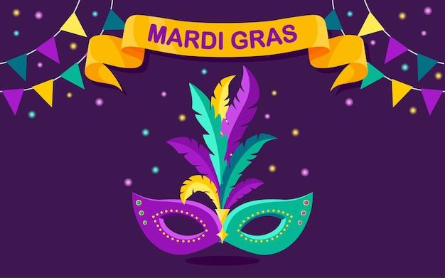 Máscara de carnaval con plumas en el fondo. complementos de disfraces para fiestas. mardi gras, concepto del festival de venecia.