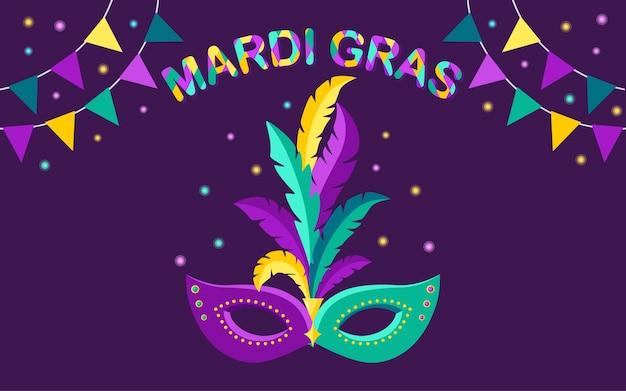Máscara de carnaval con plumas en el fondo. complementos de disfraces para fiestas. mardi gras, festival de venecia.