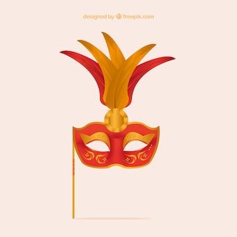 Máscara del carnaval con plumas grandes