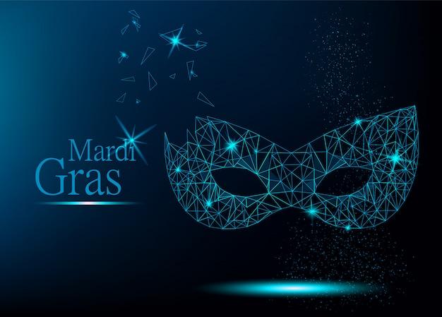 Máscara de carnaval poligonal azul mardi gras