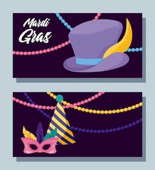 Máscara de carnaval y sombreros con collares