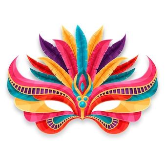 Máscara de carnaval veneciano colorido aislado sobre fondo blanco.
