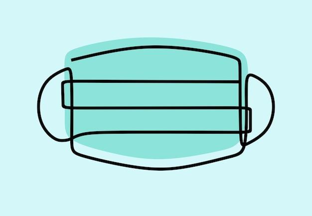 Máscara de cirugía en línea arte de línea continua
