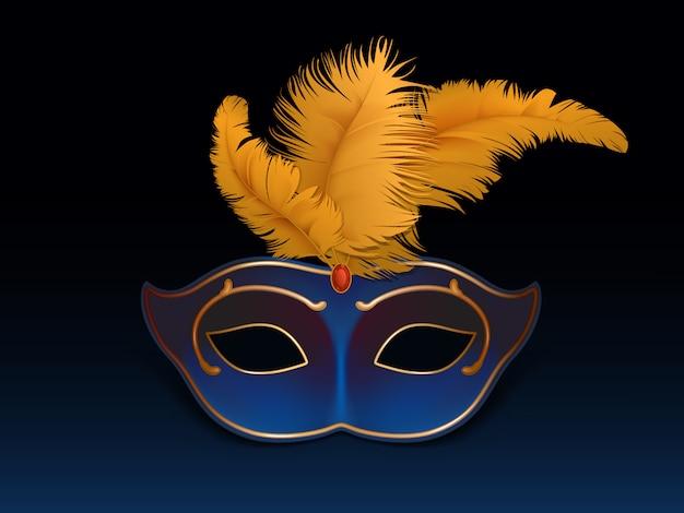 Máscara colombina de media cara decorada con piedras preciosas, rubí rojo y plumas de colores.
