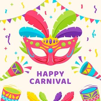 Máscara colorida con plumas feliz festival
