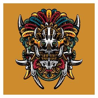 Máscara de cráneo maya anormal