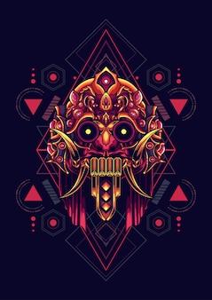 Máscara de la cultura de la geometría sagrada.