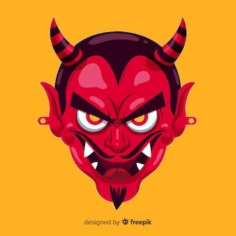 Máscara de demonio de halloween en diseño plano