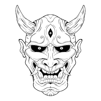 Máscara de demonio japonés o máscara de oni con estilo de dibujo a mano sobre fondo blanco.