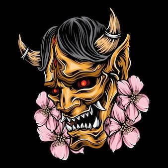 Máscara de demonio japonés vector logo