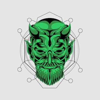 Máscara de demonio verde con geometría sagrada