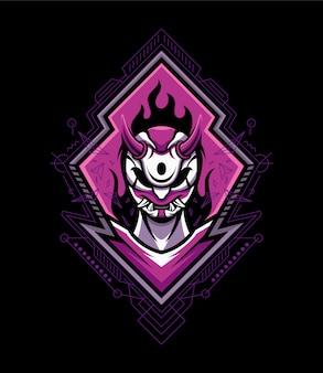 Máscara del diablo logo mascota