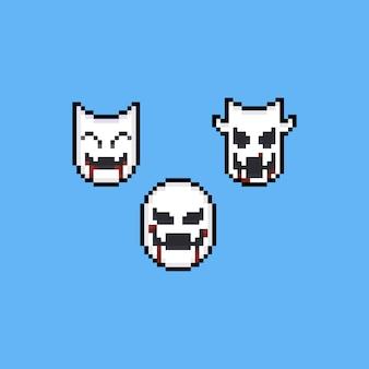 Máscara de diablo de pixel art con conjunto de iconos de sangre.
