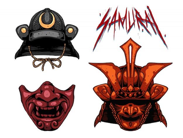 Máscara de diseño de conjunto samurai (color)