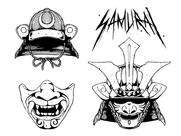 Máscara de diseño de conjunto samurai