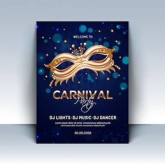 Máscara dorada brillante del partido en el fondo azul del bokeh para el carnaval pa