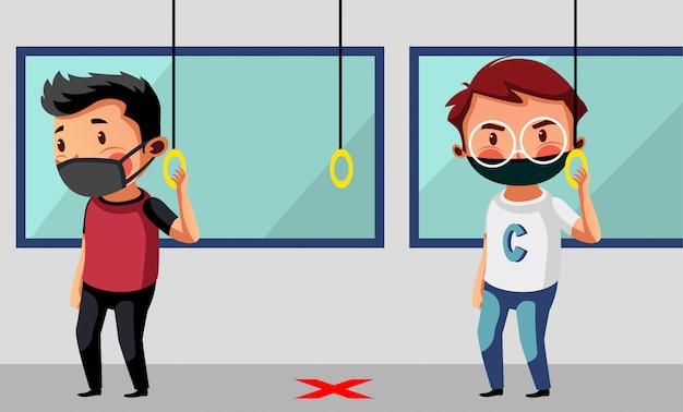 La máscara de dos hombres tiene distancia física en el transporte público