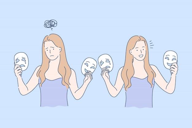 Máscara, emociones opuestas establecen concepto