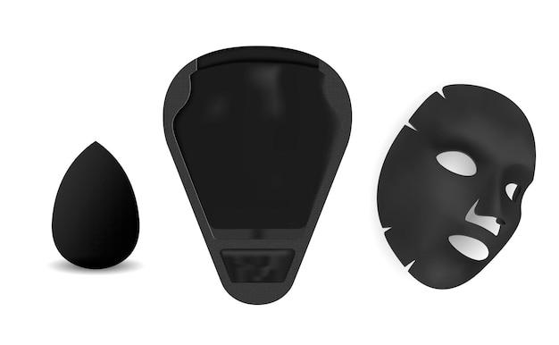 Máscara facial hoja de mascarilla facial, paquete de cosmetis de belleza producto de spa de carbón negro aislado sobre fondo blanco