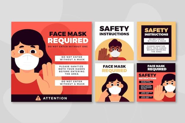 Máscara facial requerida plantilla de publicación de instagram