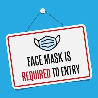Sin máscara facial sin señal de entrada. señal de advertencia informativa sobre medidas de cuarentena en lugares públicos. restricción y precaución covid-19.