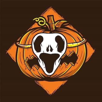 Máscara fantasma halloween calabaza ilustración vectorial