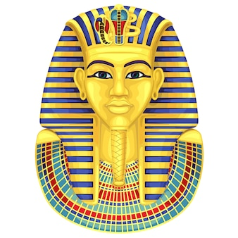 Máscara de faraones dorados egipcios. la cultura antigua canta y simboliza.