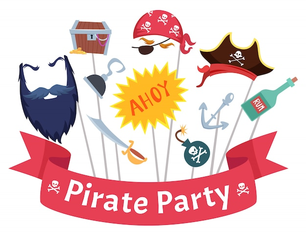 Máscara de fiesta. sombreros de pirata barba pelos gancho bandanas mascarade disfraces colección