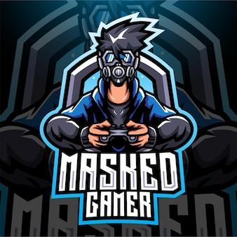 Máscara gamer esport mascota diseño de logotipo