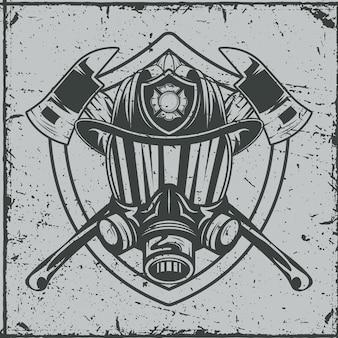 Máscara de gas de bombero con casco y hachas.
