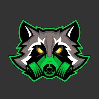Máscara de gas mascota de mapache
