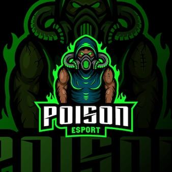 Máscara de gas veneno mascota logo esport gaming