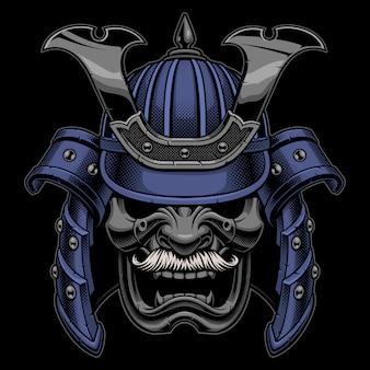 Máscara de guerrero samurai con bigote