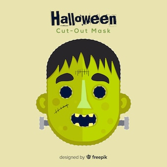 Máscara de halloween espeluznante con diseño plano