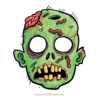 Máscara de halloween de zombi dibujada a mano
