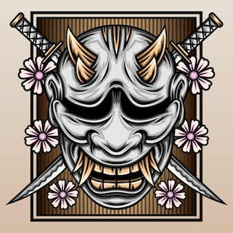 Máscara de hannya con la katana samurái.