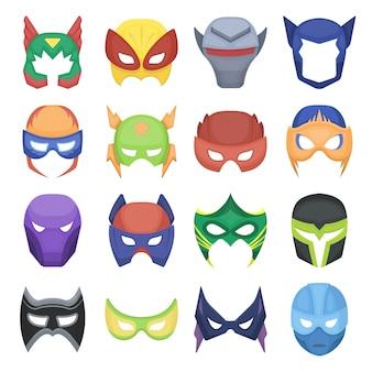 Máscara de icono de conjunto de dibujos animados de superhéroes