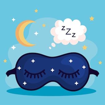 Máscara de insomnio burbuja y diseño de luna, tema de sueño y noche
