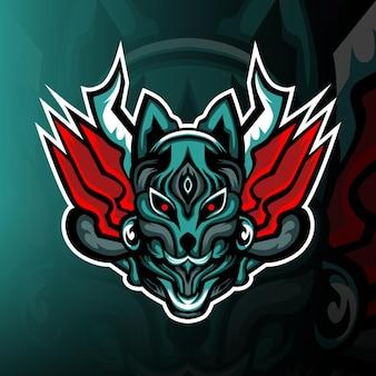 Máscara kitsune esport logo de la mascota