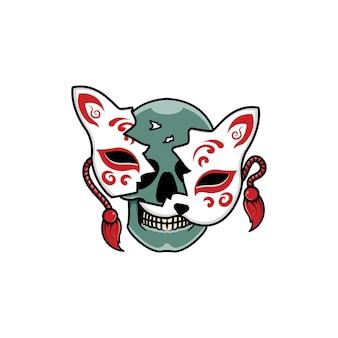 Máscara kitsune japonesa con calavera
