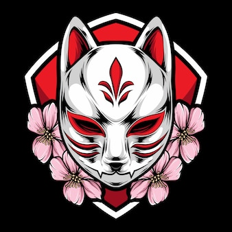 Máscara de kitsune con sakura